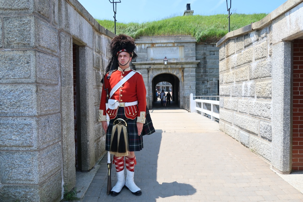 78th highlander soldier stands guard at the halifax citadel national historic site