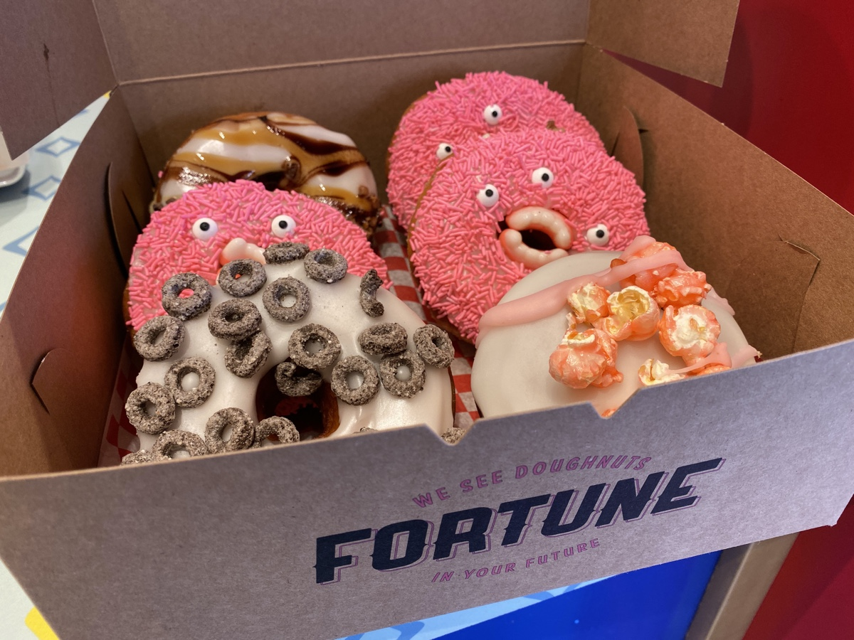 a box of six crazy doughnuts from Fortune Doughnut
