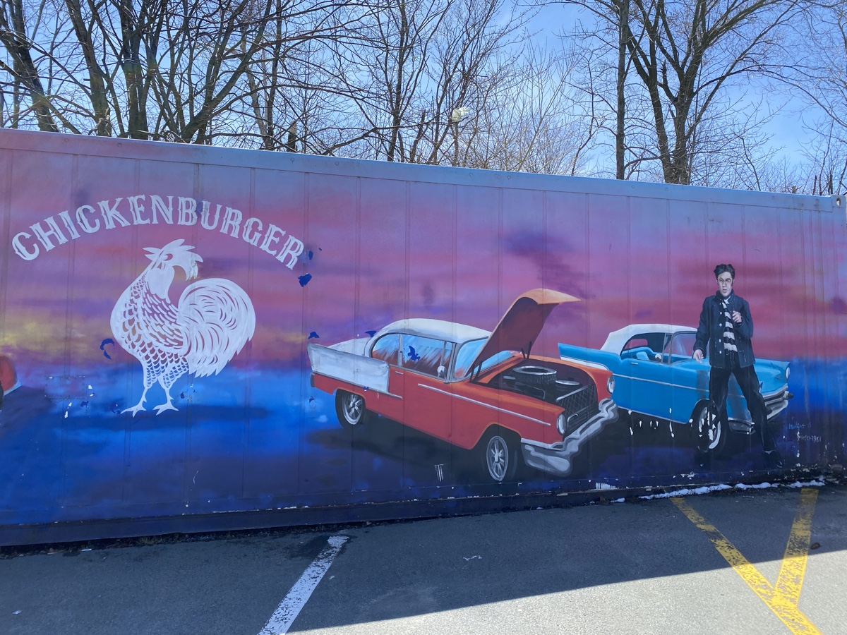 chicken burger antique cars mural in bedford nova scotia