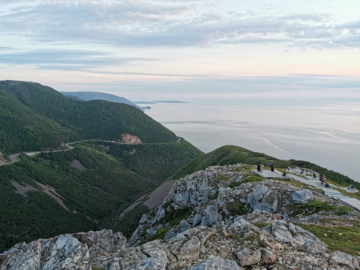 a stunning view of the cabot trail from the skyline trail in Cape Breton - The Perfect Nova Scotia Road Trip Itinerary