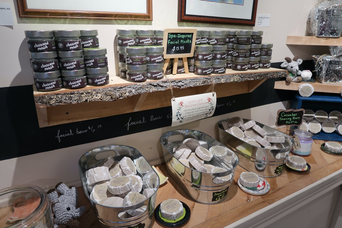 facemasks and soaps at the groovy goat farm and soap company in ingonish cape breton nova scotia