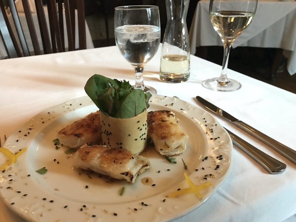 sea scallops with sesame ginger vinaigrette from stories dining at the halliburton boutique hotel in Halifax