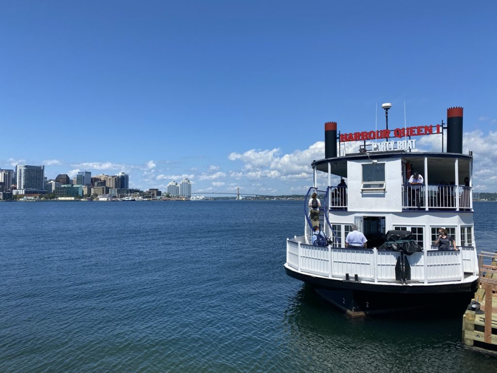 The Harbour Queen boat docked at George's Island.