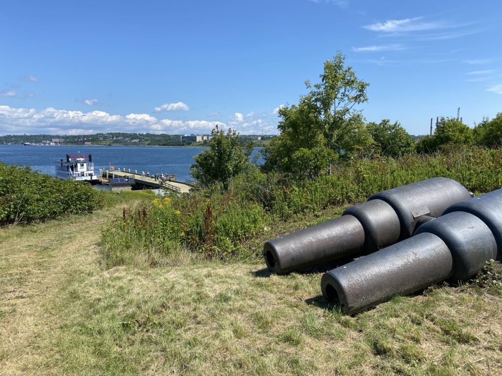 A view point on George's island with cannons.