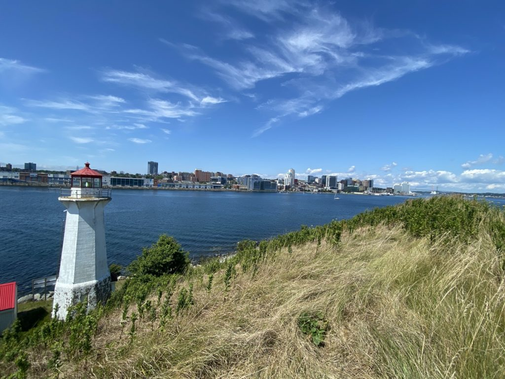 The lighthouse on George's Island and the view of the Halifax skyline.