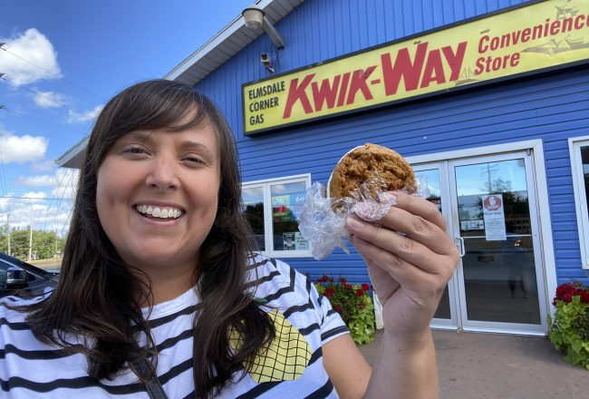 cailin oneil with an ice cream sandwich at the elmsdale corner gas prince edward island