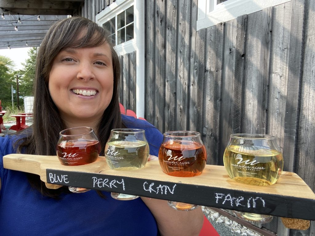 a flight of cider and craft beer at the meander river farm in windsor nova scotia annapolis valley