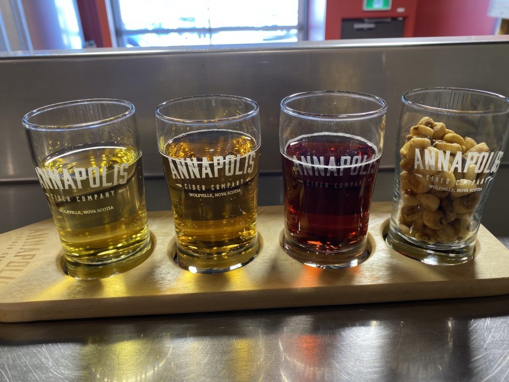 a flight of cider at the annapolis cider co in wolfville nova scotia