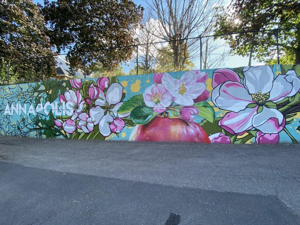 annapolis valley apple blossom mural in kentville nova scotia