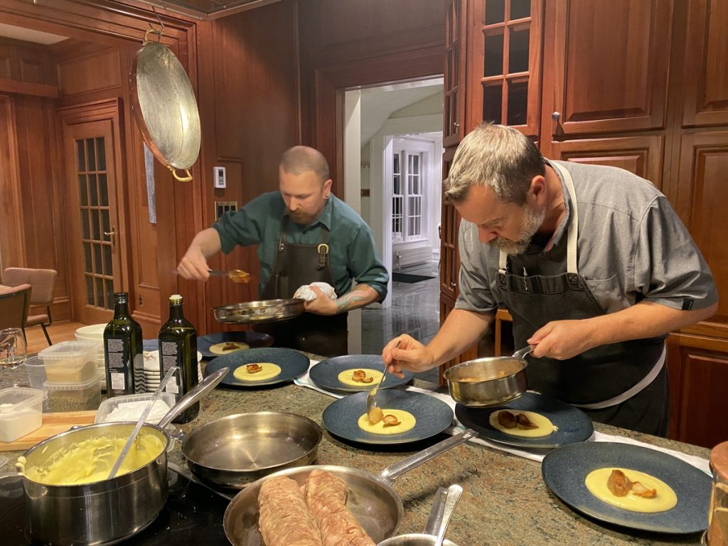 chef jason lynch prepares a 7 course wine paired dinner in the farm house at domaine de grand pre in the annapolis valley