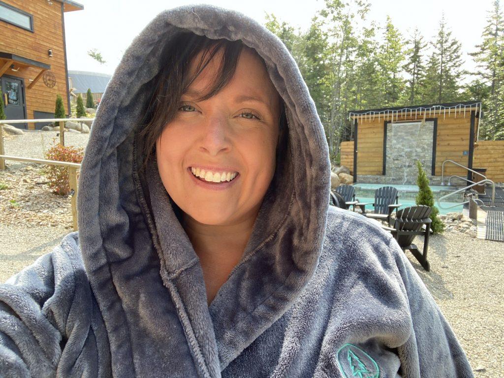 enjoy the outdoor spa at the sensea nordic spa in chester in the winter in nova scotia