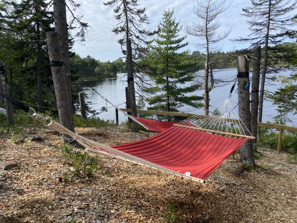 hammocks to relax in by the lake in the woods at the sensea nordic spa