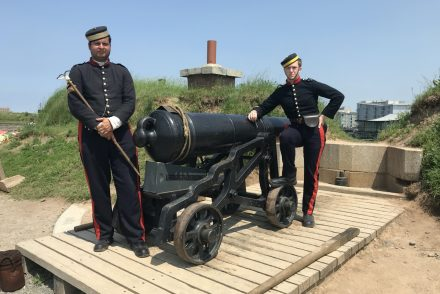 members of the 78th Highlanders Regiment of Foot at the halifax citadel prepare to fire the noon day gun