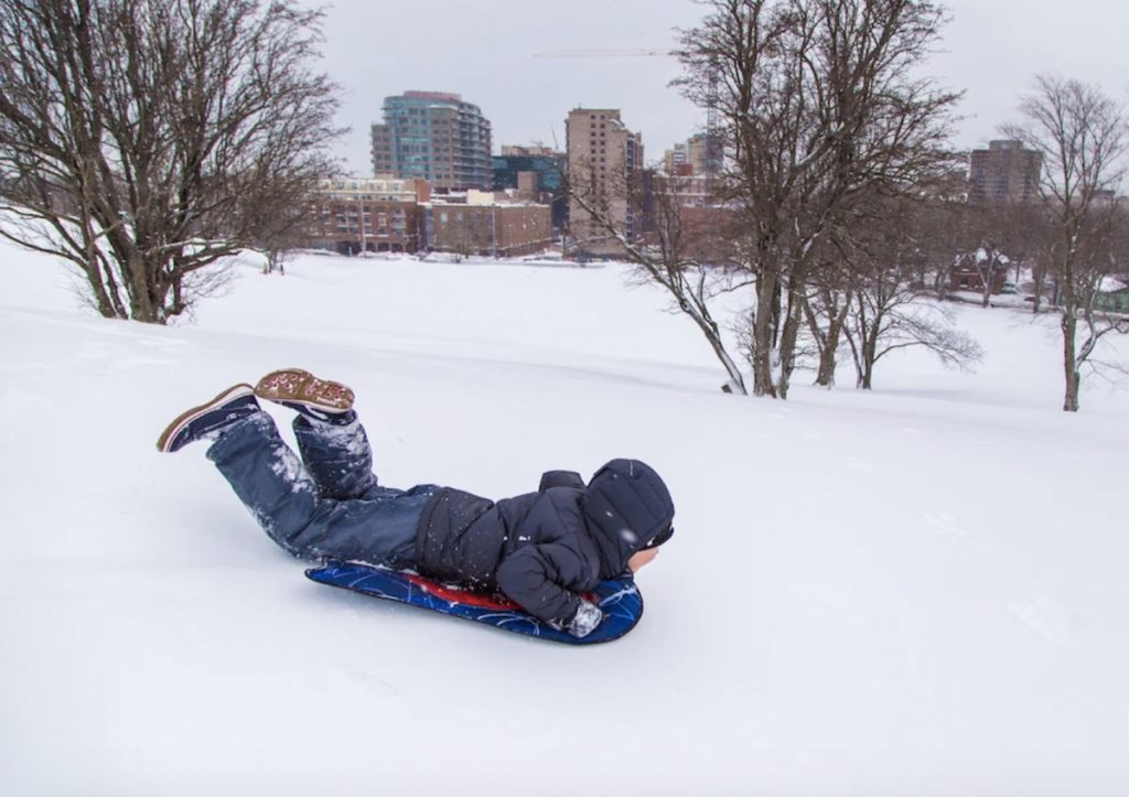 sledding on citadel hill in halifax in winter image credit bay ferries limited