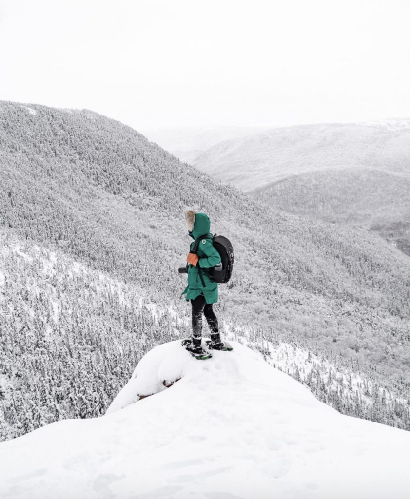 snowshoeing in cape breton nova scotia in winter image credit davey and sky