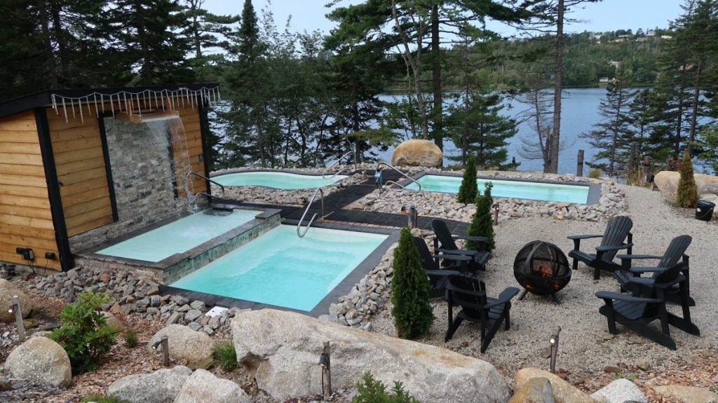 the outdoor cold and hot pools at the sensea nordic spa in chester nova scotia