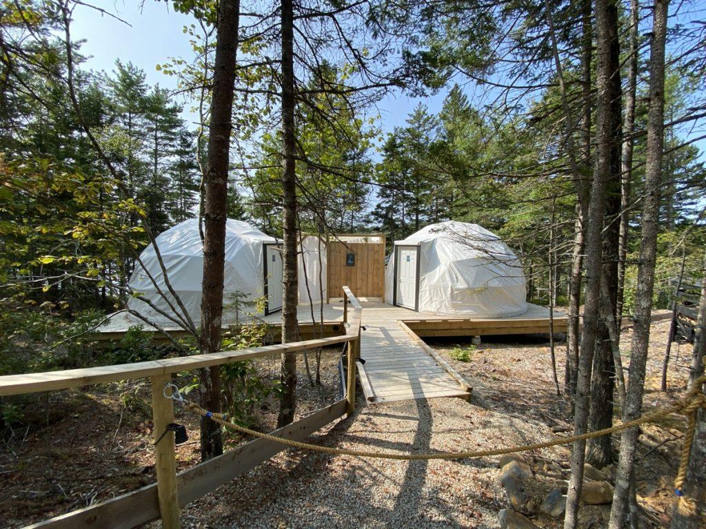 the private massage pod yurts at the sensea nordic spa in chester nova scotia