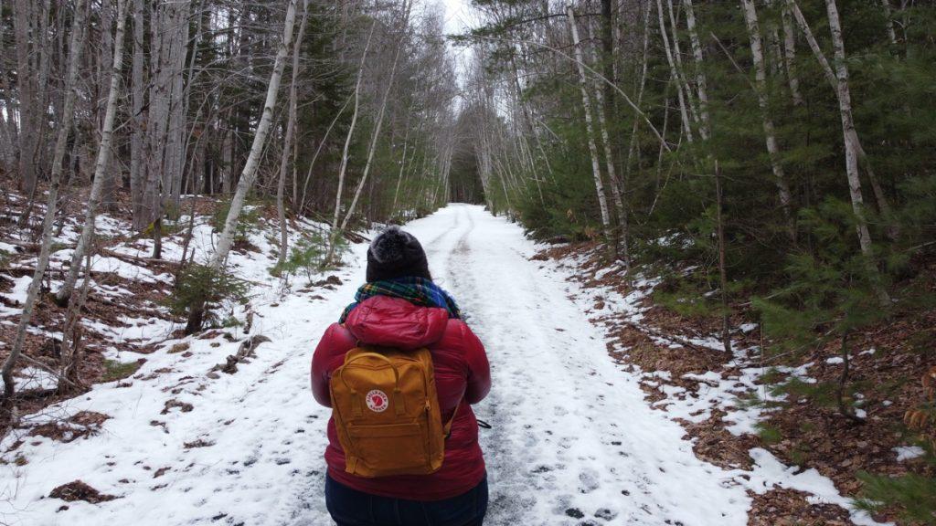 winter hiking on the rails to trails rum runners trail in Mahone Bay Nova Scotia