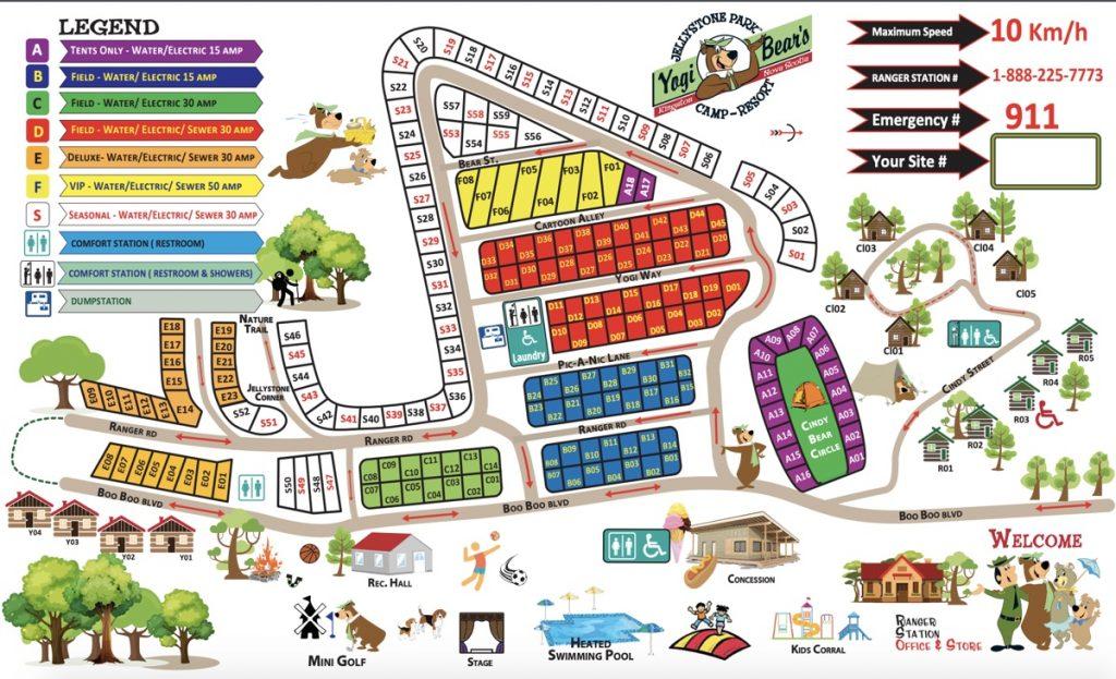 yogi bears jellystone park campground kingston nova scotia map