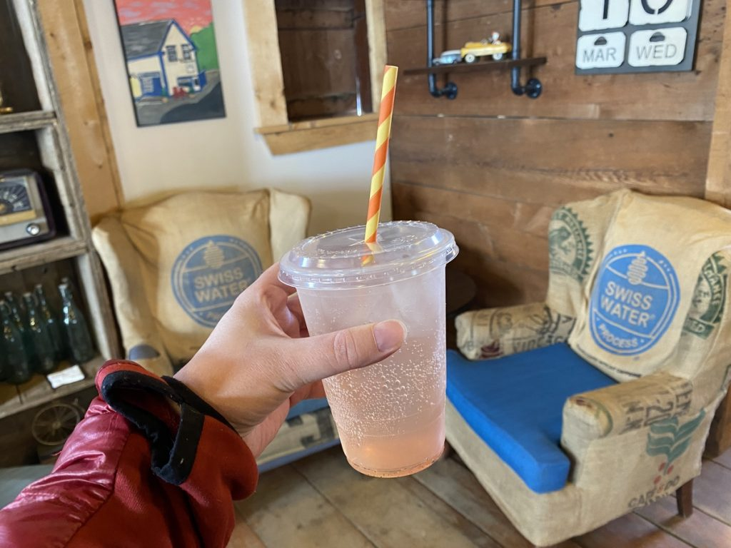 a drink at the barn coffee house in mahone bay nova scotia