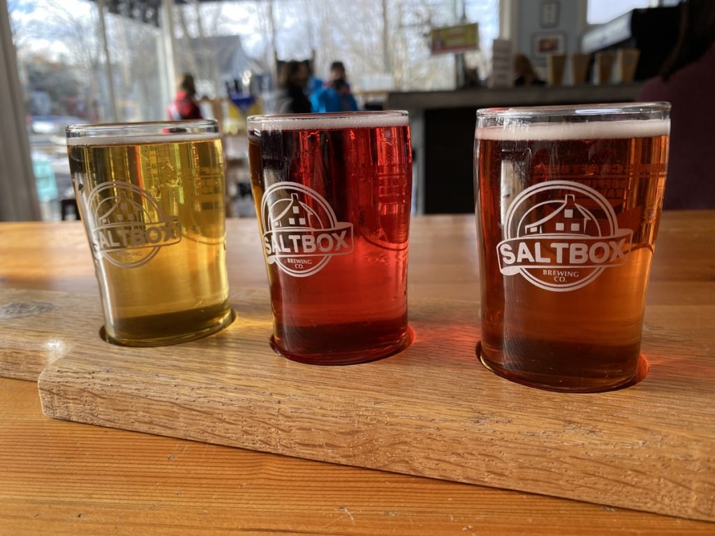 a flight of craft beer from saltbox brewing in mahone bay nova scotia