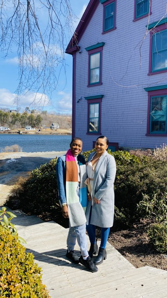 rene boudreau and friend enjoy the gorgeous homes in mahone bay nova scotia