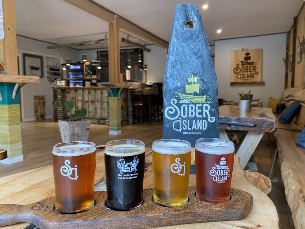 flight of beer at sober island brewing in sheet harbour