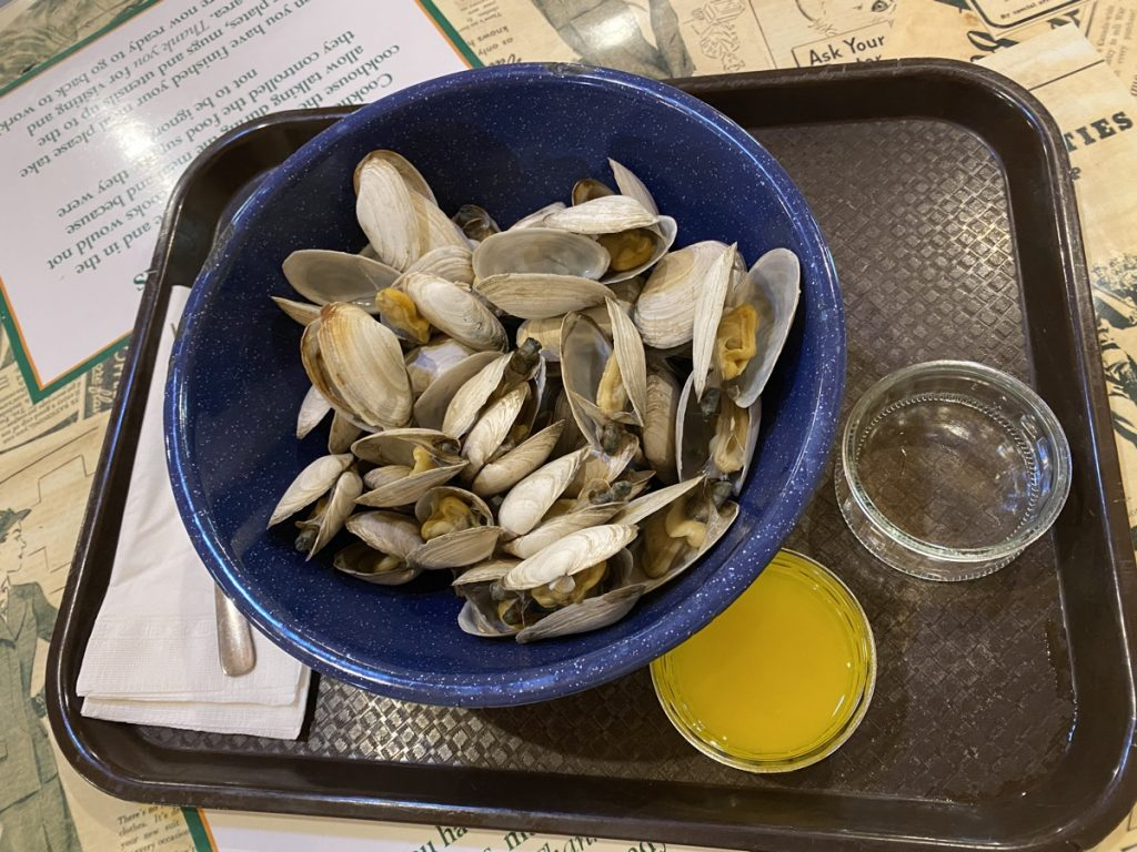 fresh steamed nova scotia clams from clam harbour at the cookhouse at the memory lane heritage village