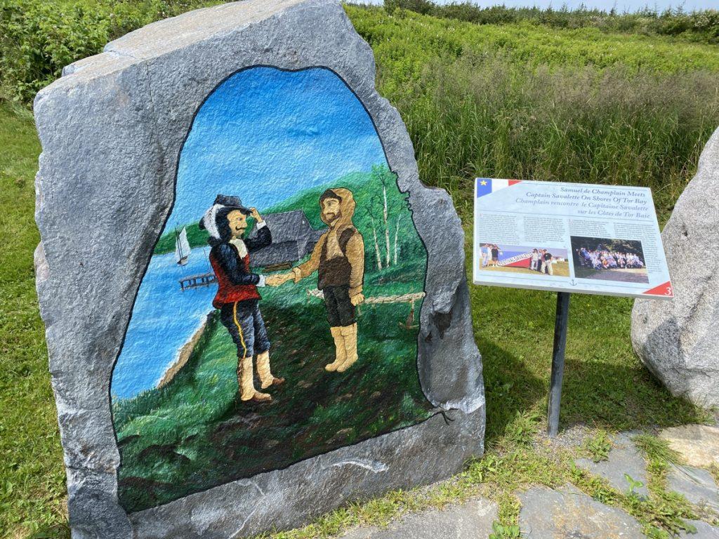 rock paintings depicting acadian resettlement and life in nova scotia at Larry's River Parc de nos Ancêtres Municipal Park