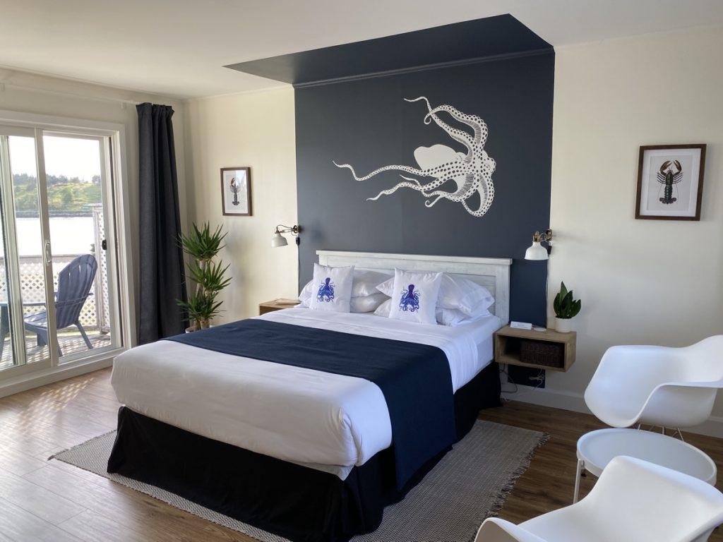 the blue octopus room at the marmalade motel in port dufferin nova scotia