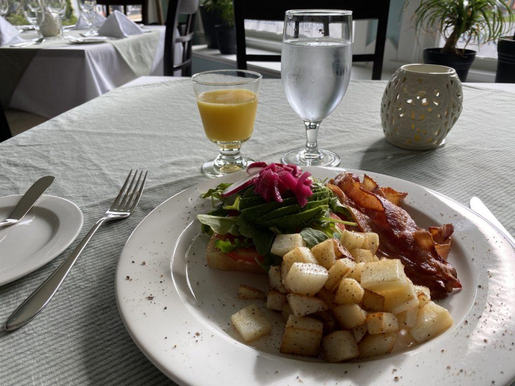 avocado toast and potato breakfast at the bluenose lodge dining room