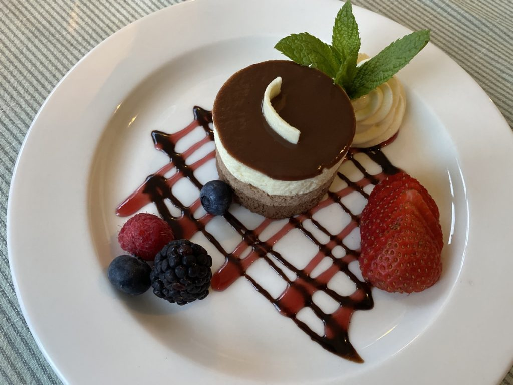 chocolate dessert at the dining room at the bluenose lodge lunenburg