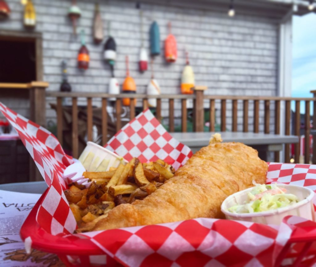 fish and chips at the south shore fish shack restaurant in lunenburg nova scotia