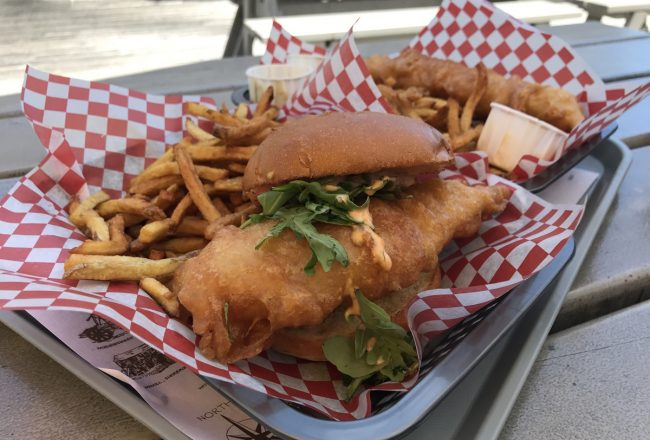 haddock fish burger at the south shore fish shack in lunenburg