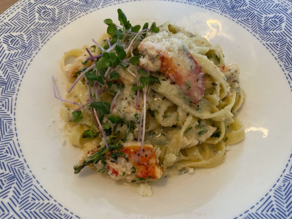 lobster tagliatelle with lemon cream sauce at the beach pea kitchen and bar lunenburg