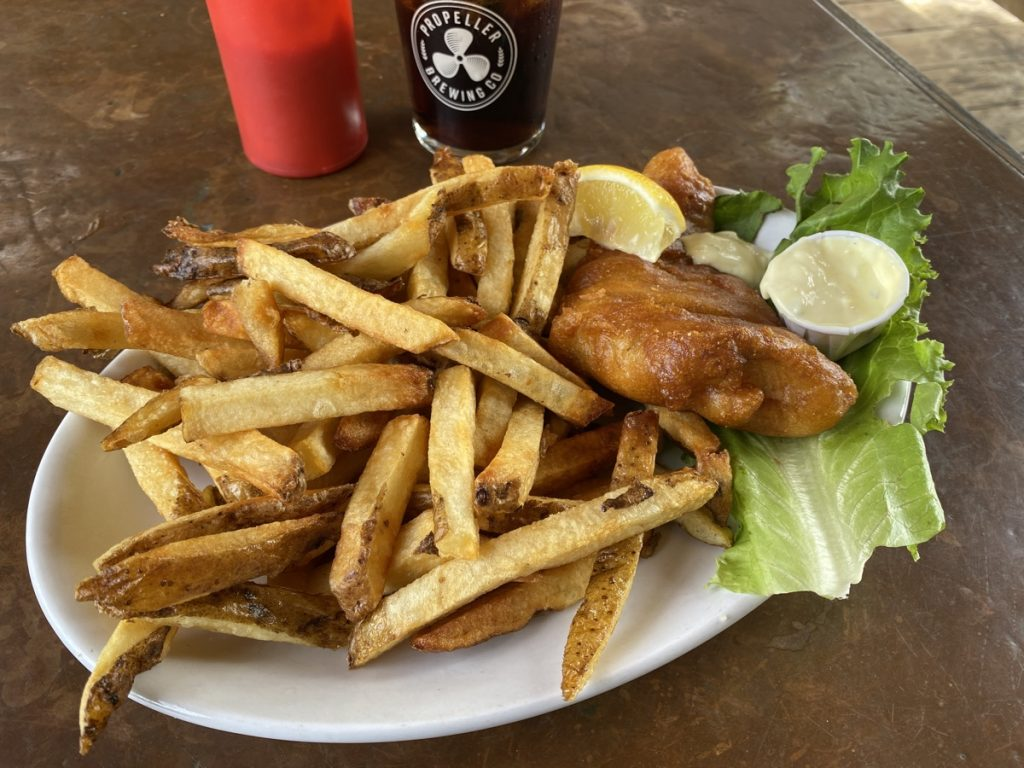 one piece fish and chips at the knot pub in lunenburg
