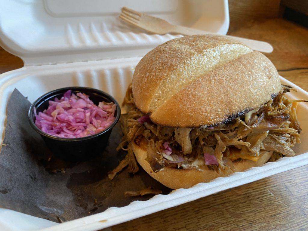 pulled pork sandwich from the smoke pitt bbq in lunenburg