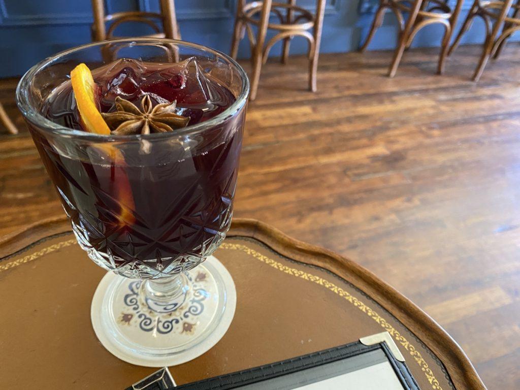 spanish red wine sangria at bar salvador spanish tapas bar in lunenburg