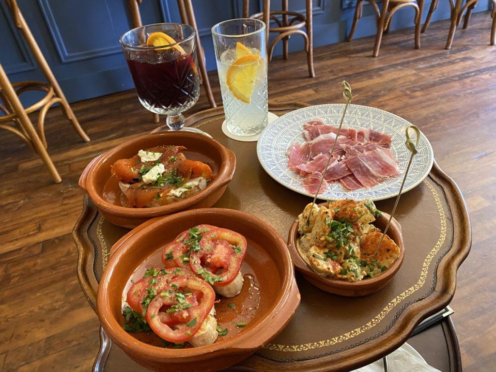 tapas plates and drinks at bar salvador in lunenburg nova scotia