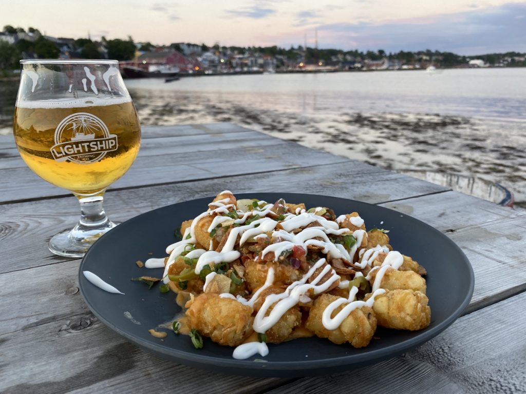 tater totchos nachos by googs and son at the lightship brewing beer garden in lunenburg