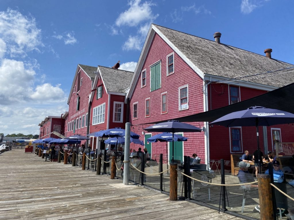 the patio on the lunenburg waterfront at the old fish factory restaurant